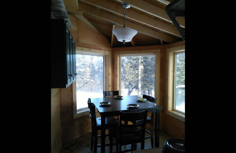 Cabin dining room at Hungry Moose Bed and Breakfast.