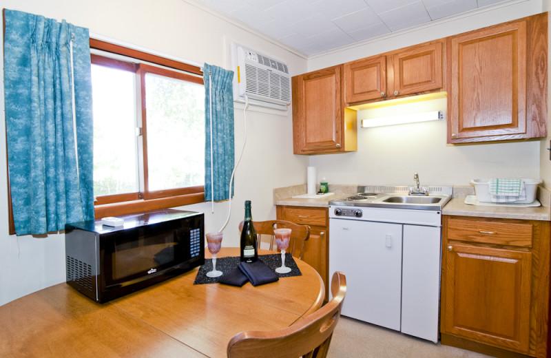 Motel kitchenette at Riverbank Motel & Cabins.