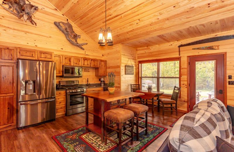 Cabin kitchen at Harpole's Heartland Lodge.