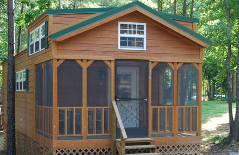 Cabin exterior at Yogi Bear's Jellystone Park Warrens.