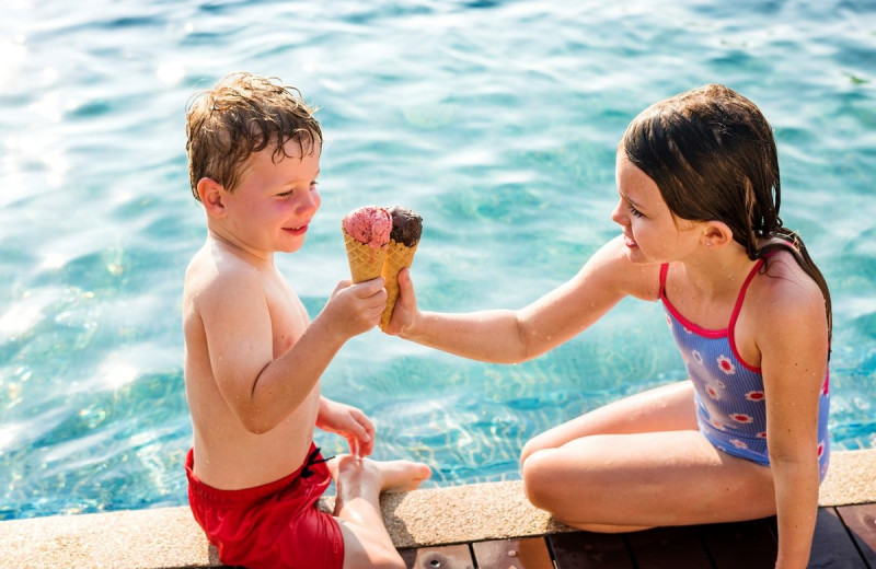Ice cream by the pool at Sandbanks Summer Village Cottage Resort.