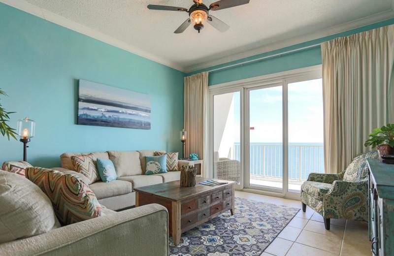 Rental living room at Windemere Perdido Key.