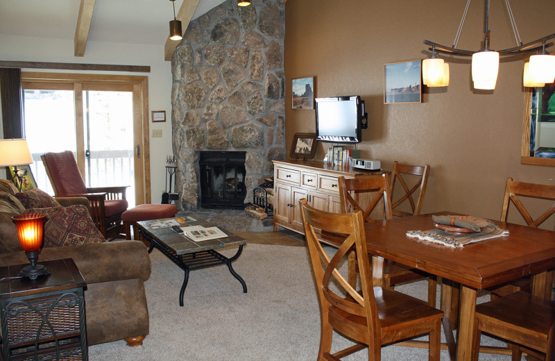 Guest living room at Cascade Village Condominiums.