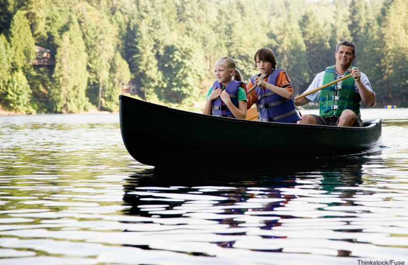 Canoeing at Linekin Bay Resort.