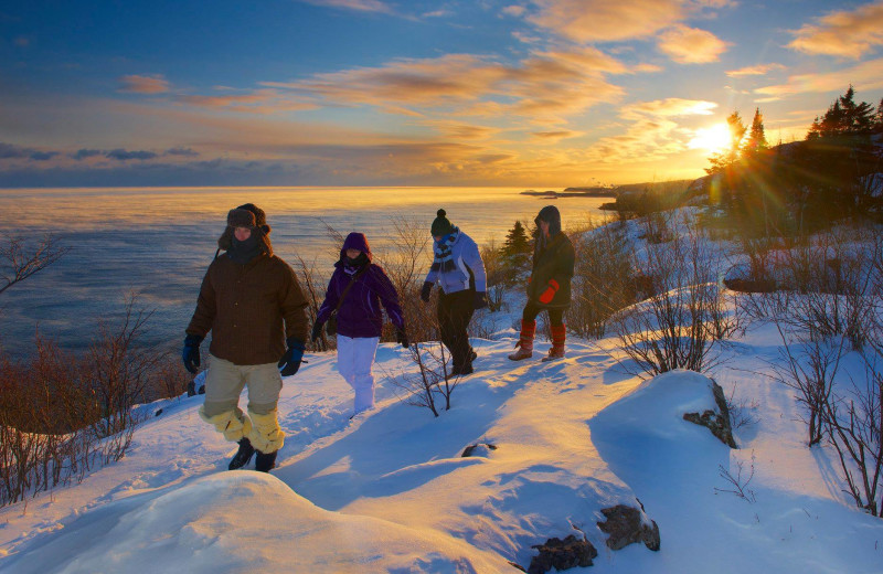 Snowshoeing at Temperance Landing on Lake Superior.