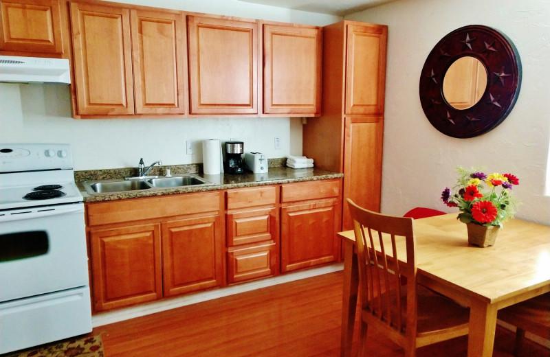 Cabin kitchen at East Glacier Motel & Cabins.