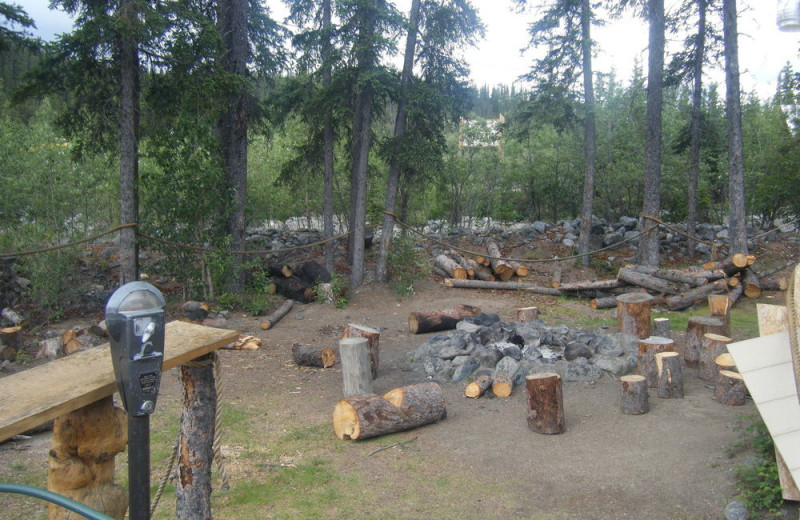 Fire pit at Denali Perch Resort.