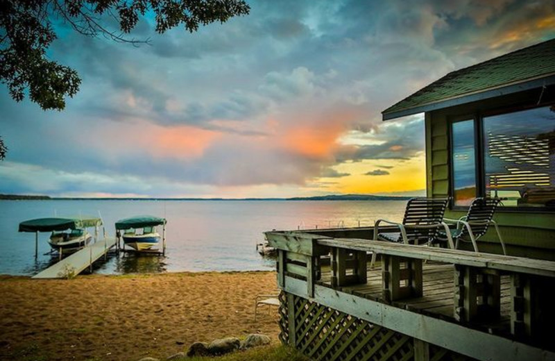 Beach sunset at Grand View Lodge.