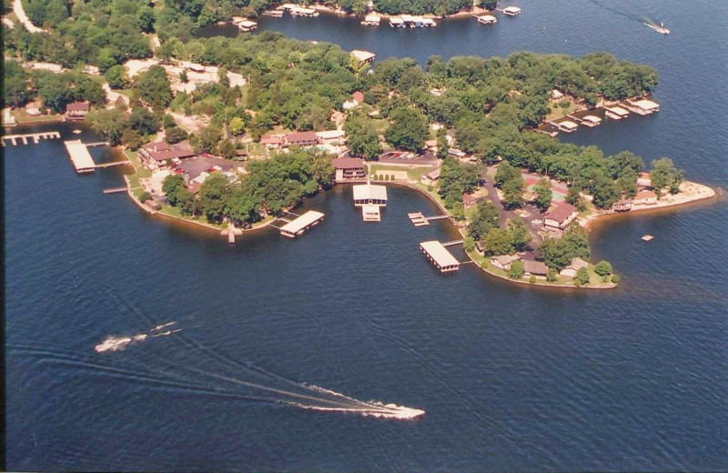 Aerial view of Lakeview Resort.