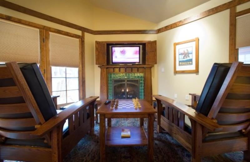 Cabin interior at FivePine Lodge.