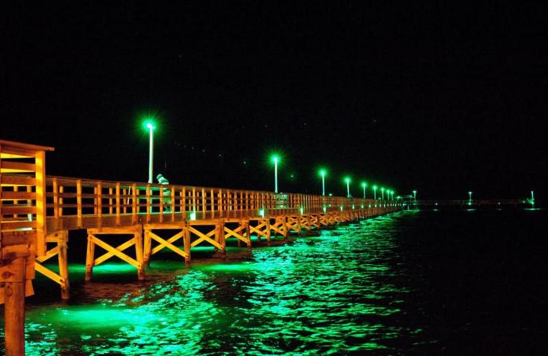 Fishing pier at The Lighthouse Inn at Aransas Bay.