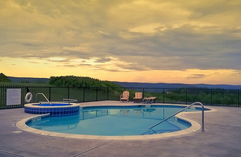 Pool sunset at August Lodge Cooperstown.