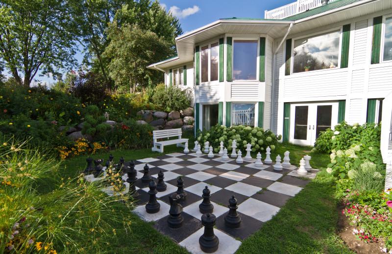 Giant chess at Elmhirst's Resort.