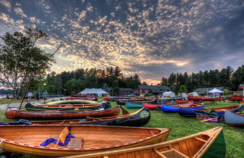 Canoes at Gauthier's Saranac Lake Inn.