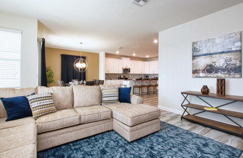 Rental living room at Vacation Pool Homes.