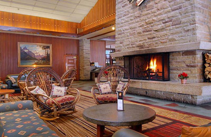 The lobby at The Fairmont Jasper Park Lodge.