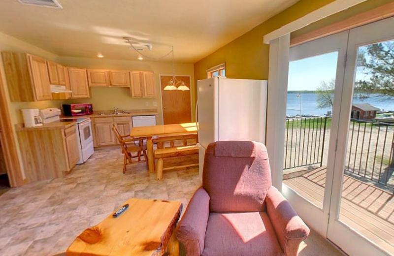 Cabin interior at Hiawatha Beach Resort.