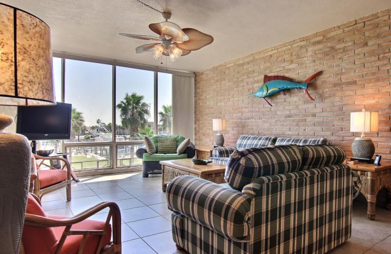 Condo living room at Port A Escapes.