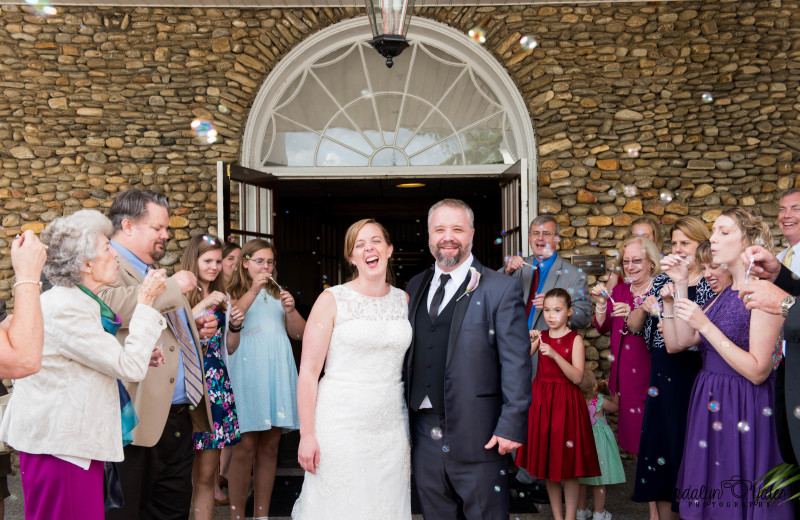 Newlyweds celebrate with friends and family outside Lambuth Inn.