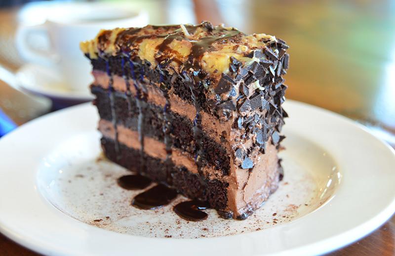 Chocolate cake at Newagen Seaside Inn.