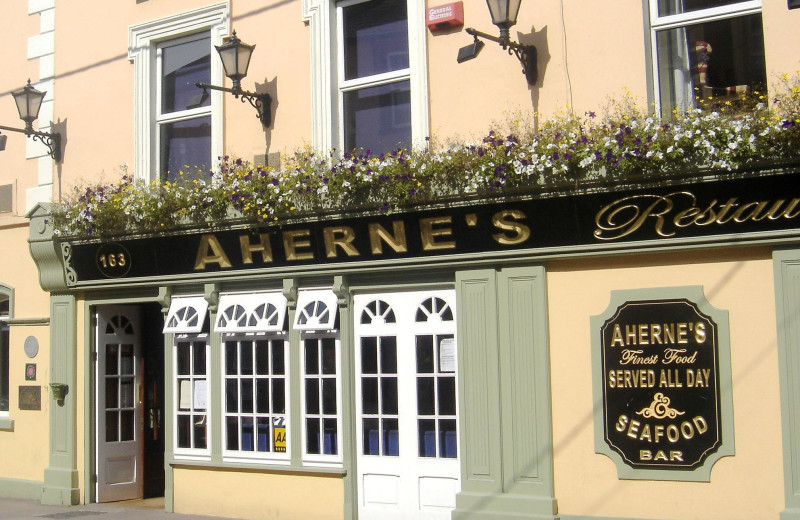 Exterior view of Ahernes Seafood Restaurant and Luxury Hotel.