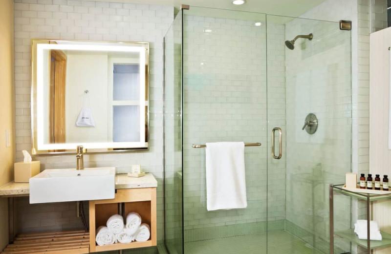 Guest bathroom at Pier South Resort.