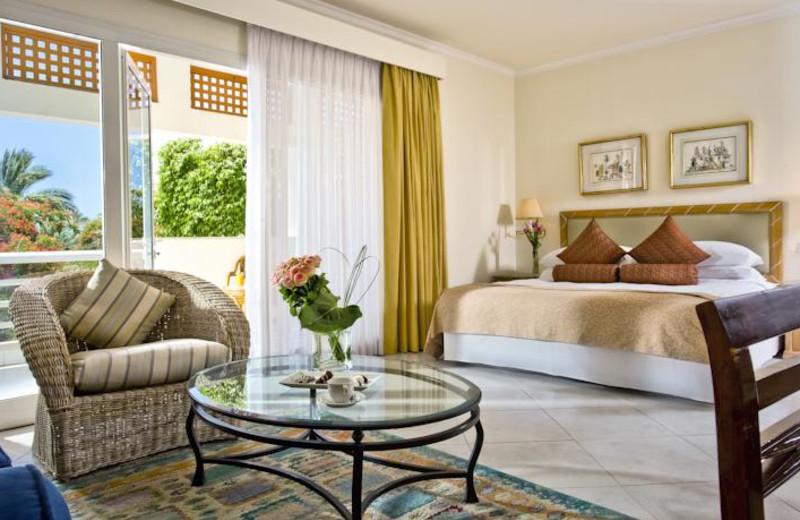 Guest room at Jolie Ville Mövenpick Golf Hotel & Resort Sharm El-Sheikh.