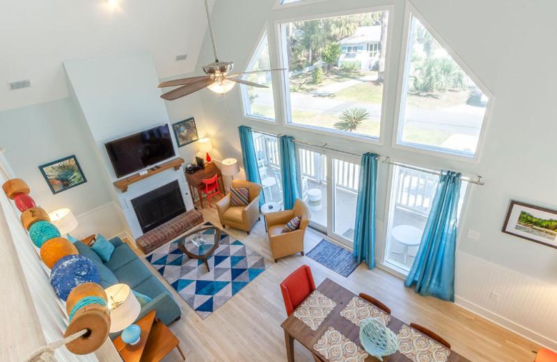 Rental living room at Tybee Vacation Rentals.