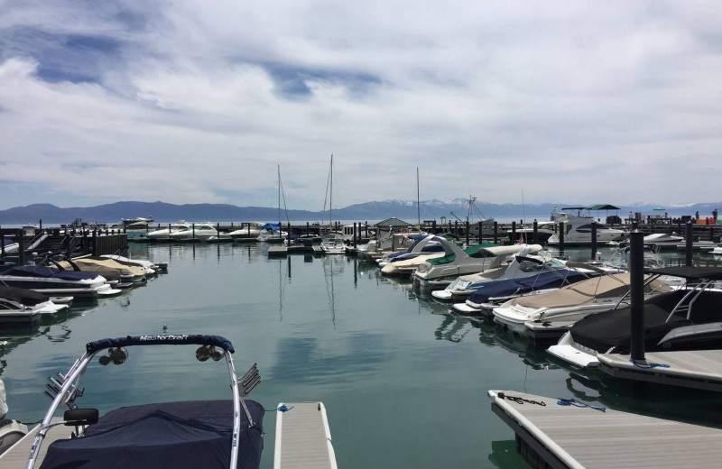 Fishing marina at Tahoe Getaways.