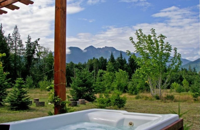 Cabin hot tub at Olympic View Cabins.