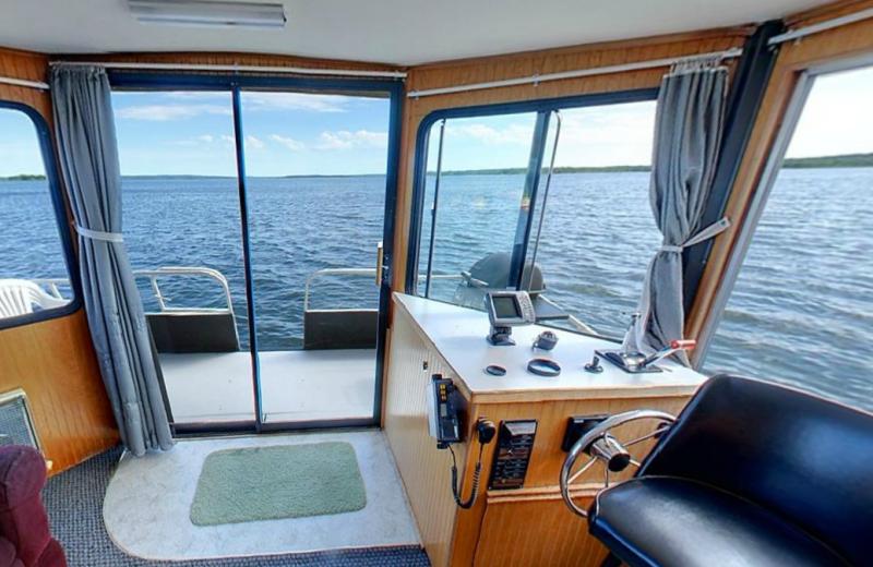Houseboat interior at Hiawatha Beach Resort.