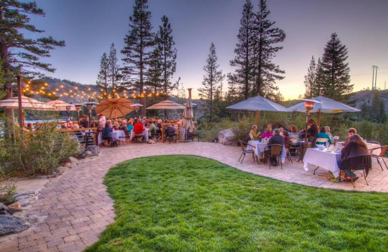Outdoor dining at Sugar Bowl Resort.