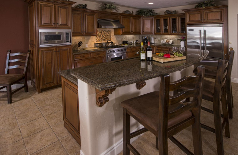Each suite  at Valentina Suites has a well appointed gourmet kitchen with granite countertops and stainless steel appliances