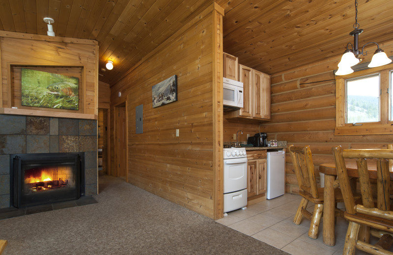 Cabin kitchen and living room at 320 Guest Ranch.