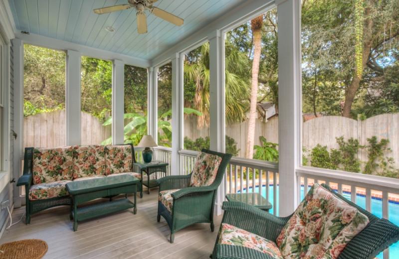 Vacation rental porch at Hodnett Cooper.