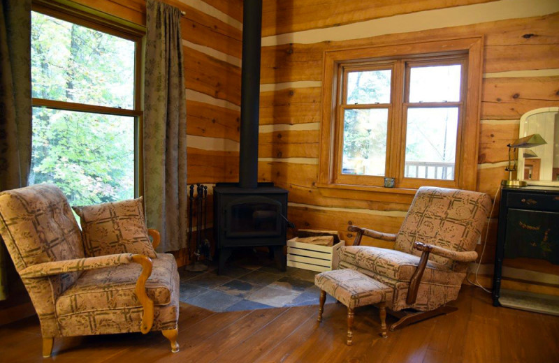 Cabin living room at Wolf Den Hostel and Nature Retreat.