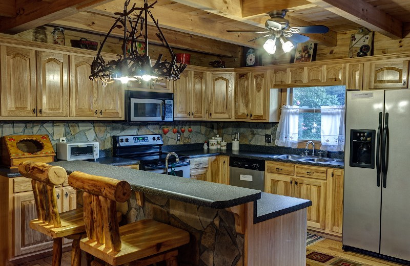 Cabin kitchen at Georgia Mountain Rentals.
