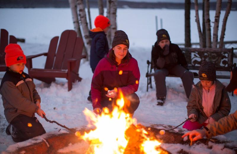 Bonfire at Skyport Lodge.