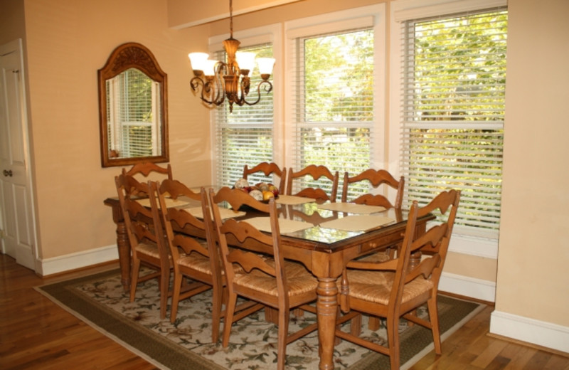 Dining Room in Cabin at Foscoe Rentals