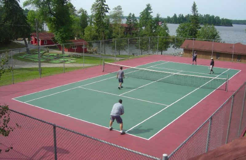 Tennis court at Red Indian Lodge.