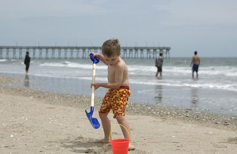 Playing on the beach at Ocean Isle Inn.