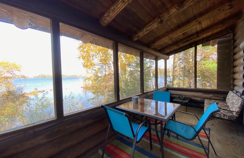 Cabin deck at Lakewoods Resort.