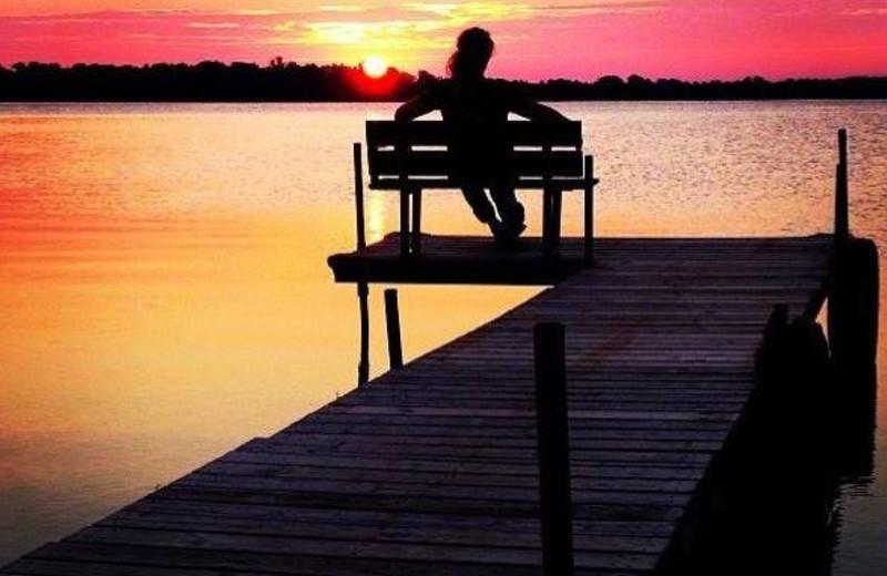 Watching the sunset at Ten Mile Lake Resort.