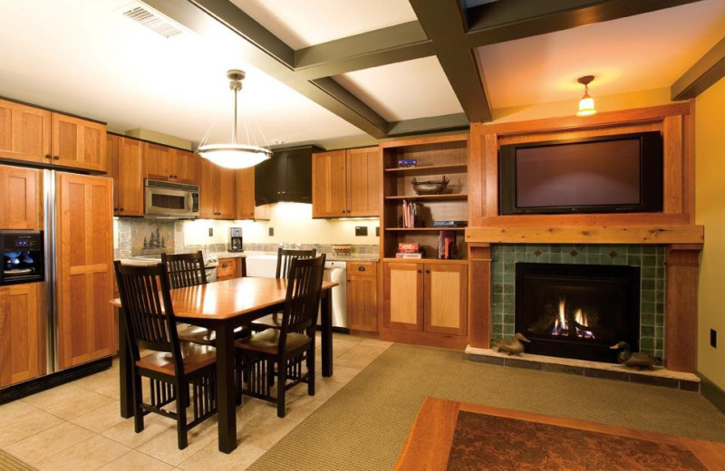 Guest dining room and kitchen at Tamarack Lodge.