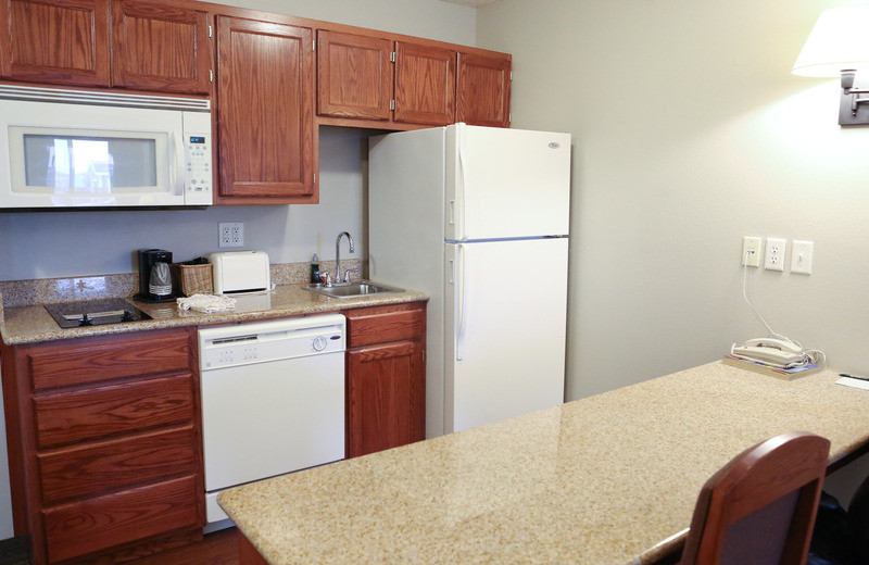 Guest kitchen at GrandStay Perham.