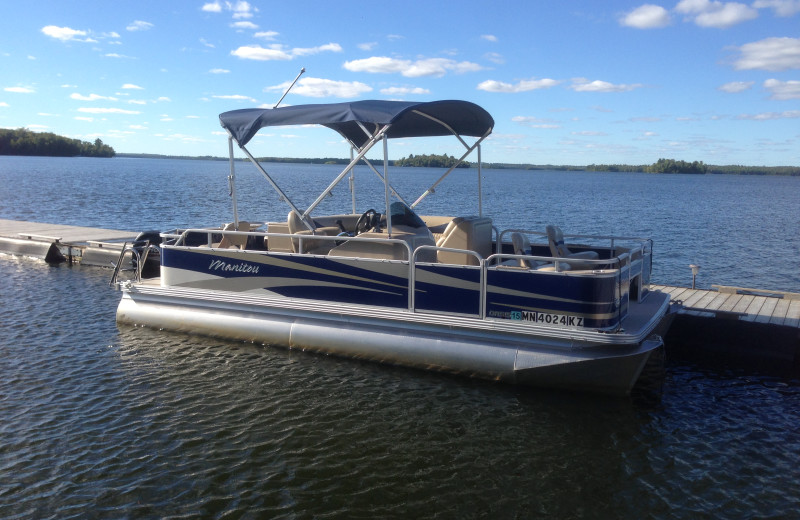 Pontoon rental at Cabin O'Pines Resort & Campground.