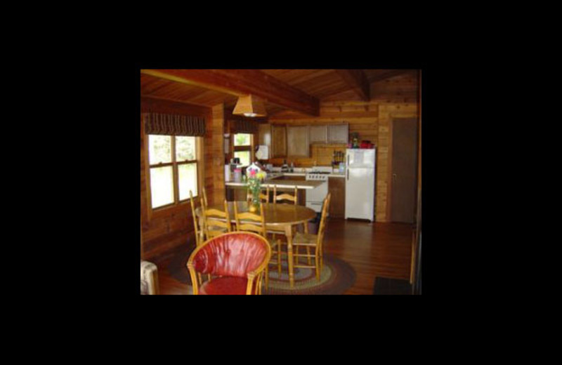 Cabin dining room at Nelson's Resort.