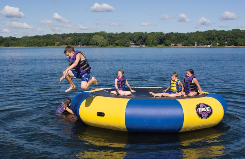 Beach trampoline at Timber Wolf Lodge Cabins.