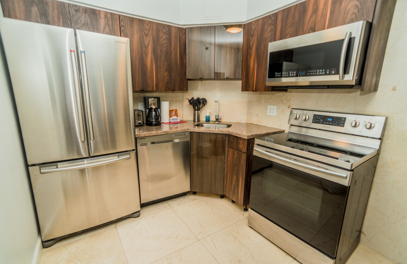 Guest kitchen at The Alexander All Suite Oceanfront Resort.