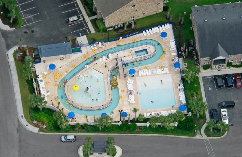 Aerial view of outdoor pool at Plantation Resort.